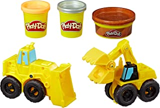Play Doh - Wheels - Excavator & Loader Construction Trucks Playset - With Sand Buildin Modelling Compound - Hasbro Kids To...