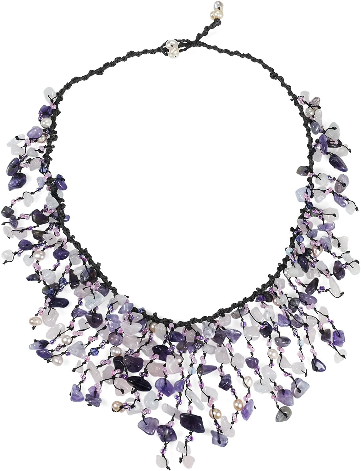 AeraVida Waterfall 4 years warranty Simulated Amethyst Freshwater Pear Cultured Easy-to-use