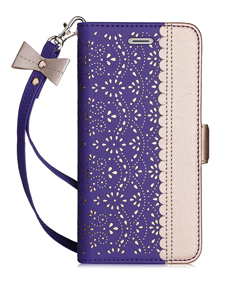 WWW iPhone 6S Case, iPhone 6 Case, [Luxurious Romantic Carved Flower] Leather Wallet Case with [Inside Makeup Mirror] and [Kickstand Feature] for Apple iPhone 6/6S Purple