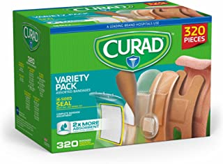 Curad Bulk Variety Pack Assorted Bandages, Flex-Fabric, Waterproof, Plastic, Knuckle, Heavy Duty Bandages (320 Count)