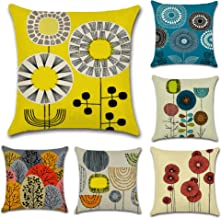 CHARMKING Abstract Flower Throw Zippered Pillow Covers 18x18 Set of 6 for Fall Decorative Couch & Car Cushion