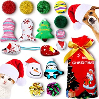 Gejoy 16 Pieces Christmas Cat Dog Toys Gift with Colorful Crinkle Balls, Mice Shape, Pillow and Bell Patterns, Stored in The Bag
