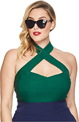 Unique Vintage - Plus Size Rita Cross Halter Top