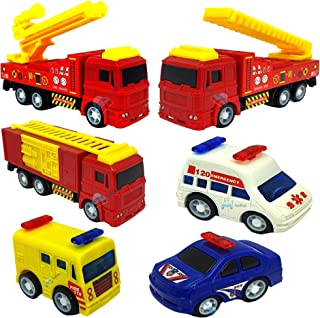 FunBlast Pull Back Vehicles Fire Rescue Truck Set of 6, Friction Power Toy Trucks for 3+ Years Old Boys & Girls, Emergency...