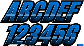 STIFFIE Techtron Octane Blue/Black 3 Alpha-Numeric Registration Identification Numbers Stickers Decals for Boats & Personal Watercraft