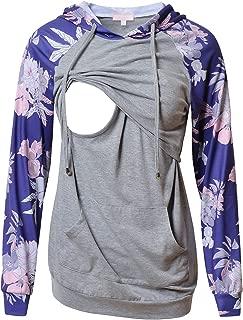 Women's Nursing Hoodie Sweatshirt Long Sleeves Casual Maternity Top Breastfeeding Clothes