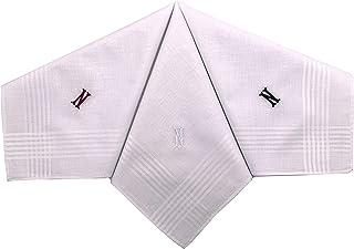 T&Z 3 Pack Men's Cotton Initial Monogrammed Handkerchief Gift Set