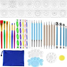 Mukum 49Pcs Mandala Dotting Tools Stencil Dotting Painting Tool Kits Brushes Paint Tray for Painting Rocks Coloring Drawin...