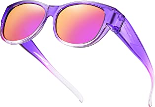 Oversized Fits Over Sunglasses Mirrored Polarized Lens Cateye for Women and Men Driver Goggles Over Prescription glasses Violet