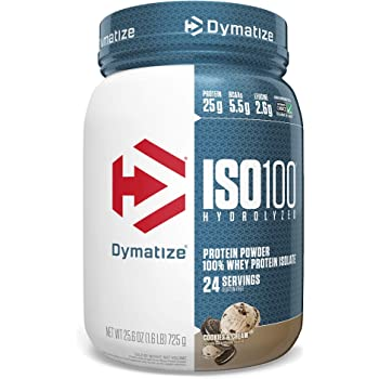 Dymatize ISO100 Hydrolyzed Protein Powder, 100% Whey Isolate Protein, 25g of Protein, 5.5g BCAAs, Gluten Free, Fast Absorbing, Easy Digesting, Cookies and Cream, 1.6 Pound