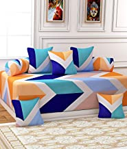 SINGHSVILLAS DECOR Printed 254TC Cotton Diwan Set with 8 Pieces 1 Single bedsheet with 5 Cushions Covers and 2 Bolster Covers with Attractive Color & Design(Multicolor)