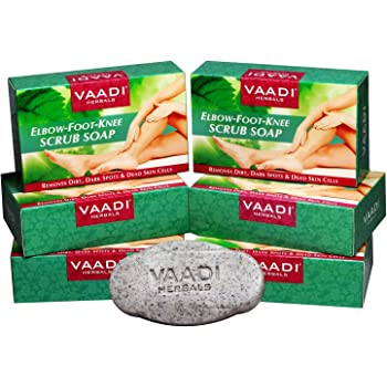 Vaadi Herbals Elbow Foot Knee Scrub With Almond And Walnut Scrub Soap, 75g (Pack Of 6)