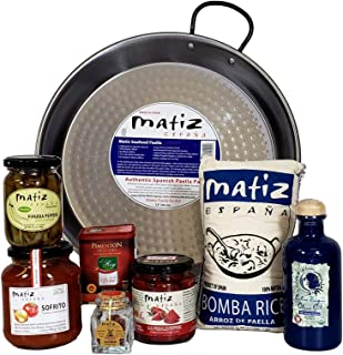 Matiz España Deluxe Authentic Paella Kit with Traditional Pan and Ingredients