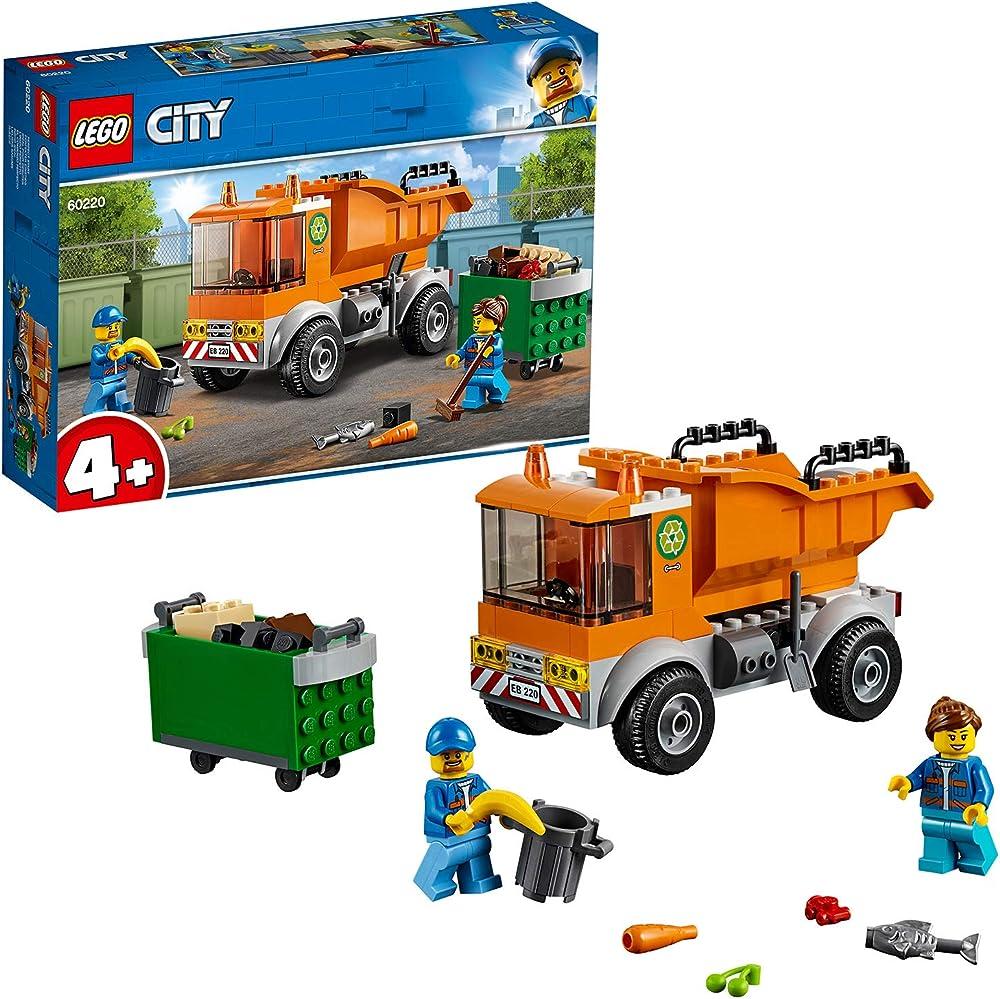 Lego city great vehicles camion della spazzatura con 2 minifigure e accessori, macchine giocattolo per bambini 60220