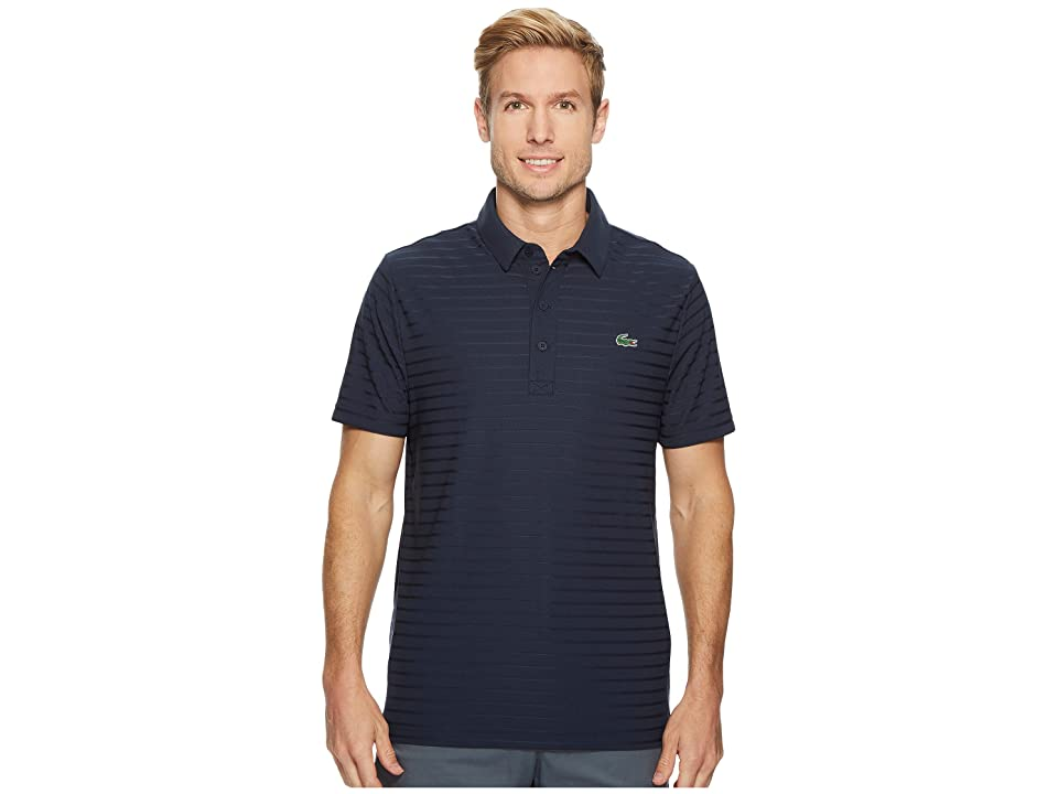 Lacoste Short Sleeve Golf Ultra Dry Tech Jersey Solid Jacquard Polo (Navy Blue) Men's Short Sleeve Pullover