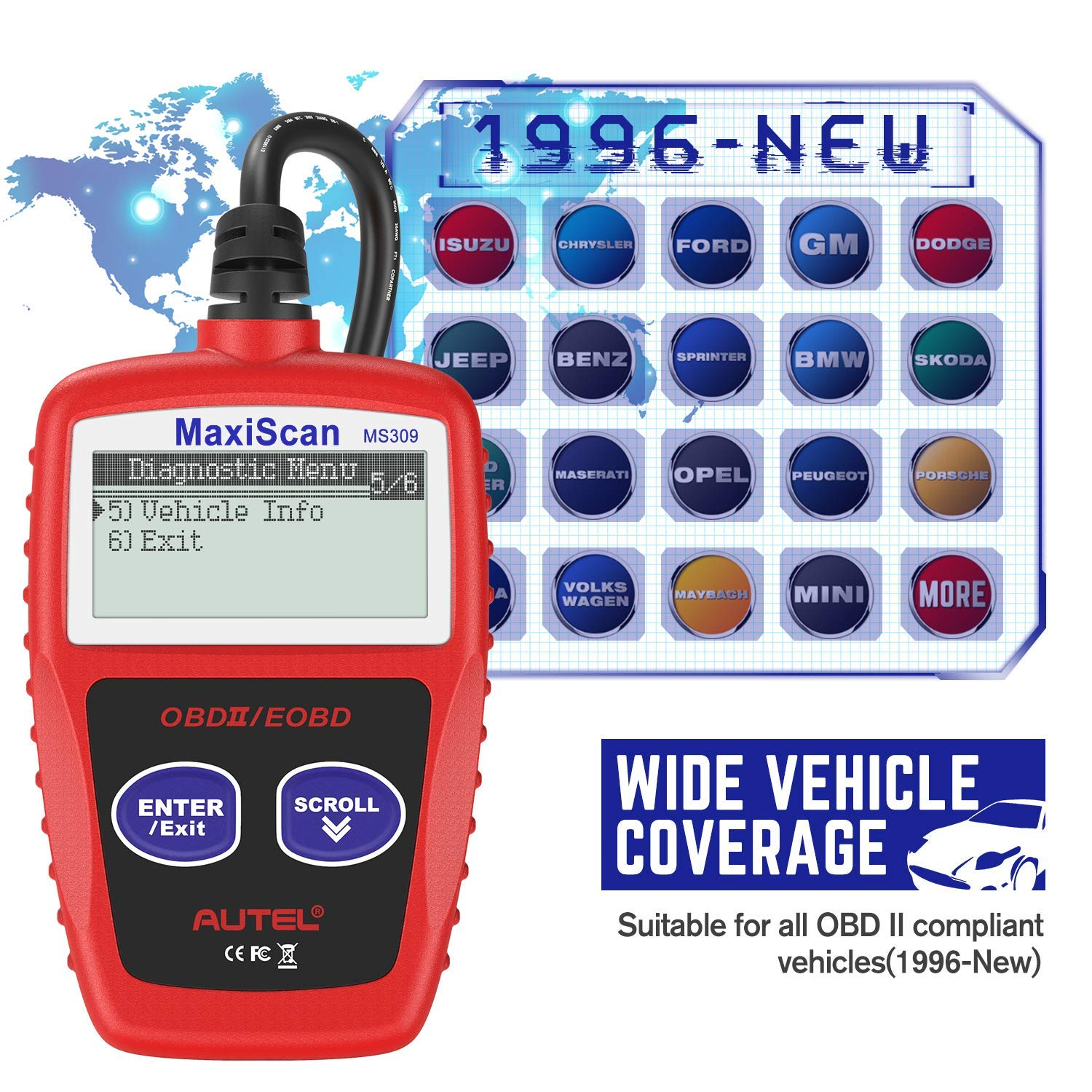 Autel MS309 OBD2 Scanner Check Engine Fault Code Reader, Read Codes Clear Codes, View Freeze Frame Data, I/M Readiness Smog Check CAN Diagnostic Scan Tool