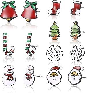 7Pairs-Santa Claus Christmas Hats Snowman Xmas Fake Earrings No Piercing-Clip On