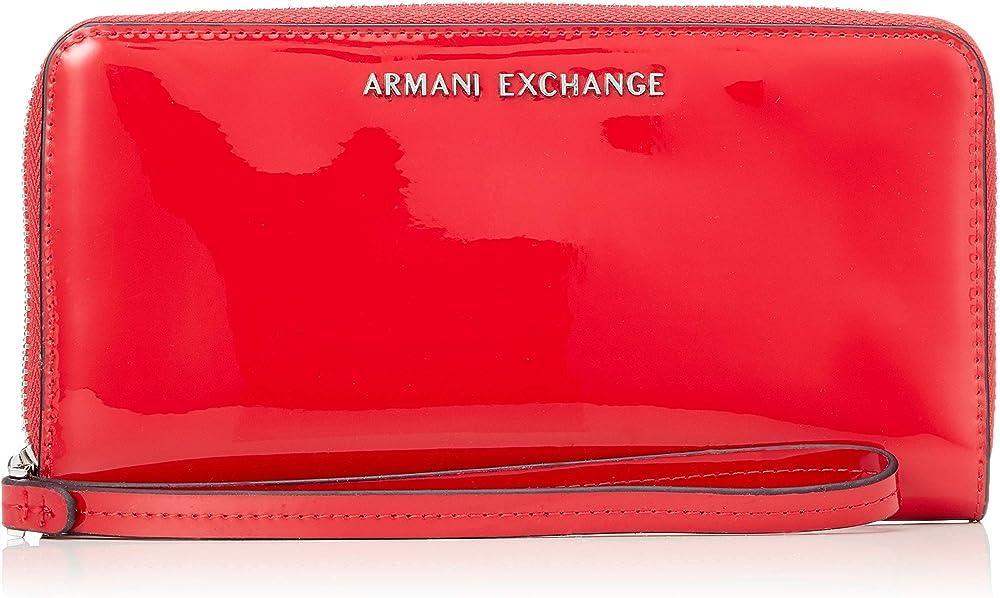Armani exchange zip-around portafoglio da donna porta carte di credito in pelle sintetica lucida 948068A