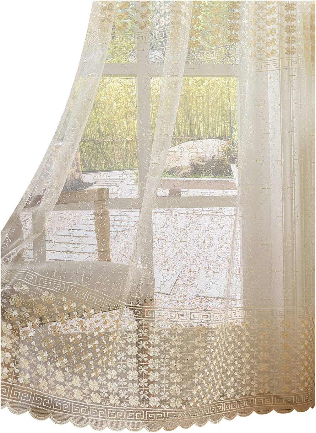BW0057 Sheer Curtains 2021 Max 85% OFF Clover Elegance Window Treatme Embroidered