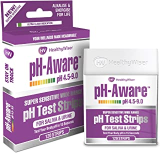 pH Test Strips 120ct - Tests Body pH Levels for Alkaline & Acid Levels Using Saliva & Urine. Track & Monitor Your pH Balan...