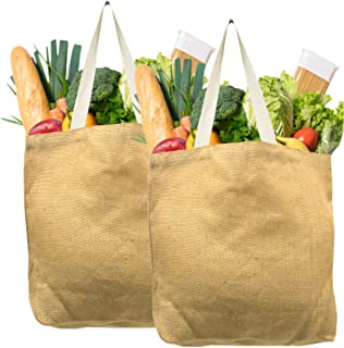 Jute Shopping Bags Natural and Reusable Grocery Totes from Earthbags (Pack of 2)