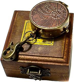 SAILOR'S ART Antique Brass Pocket Compass Sailor's Gift for Men | Travelling Equipment | Vintage Home Decor