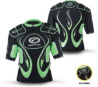 OPTIMUM 男式 INFERNO 上衣防护肩垫,黑色/绿色,迷你