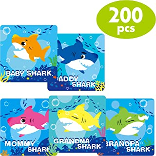 200 PCS Shark Family Birthday Event Party Stickers Supplies with Perforated Line ,Each measures 2.5