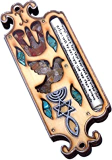 Wooden Messianic Seal Mezuzah case with Messianic Seal - 5 Inch with Scroll and Jerusalem Stones