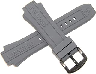 Swiss Legend 18MM Gray Silicone Band Strap & Gunmetal Stainless Buckle fits 48mm Neptune Watch