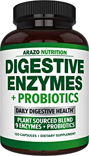 Digestive Enzymes with Probiotics - Multi Enzyme Nutritional Supplement - Acidophilus Bromelain Papaya Papain Lipase & Lac...