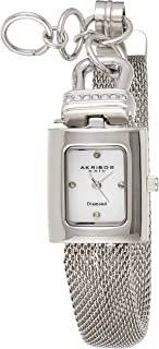 Akribos XXIV Women's Silver Rectangular Watch - Mother Of Pearl Dial - Crystal Jewelry Clasp - Brass Mesh Bangle Bracelet Strap - AK510