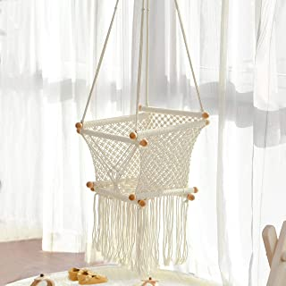 FUNNY SUPPLY Hanging Swing Seat Hammock Chair for Infant to Toddler Beige Color Cotton Rope Weaved Children's Indoor Playroom Nursery Decor Girl Birthday Gift