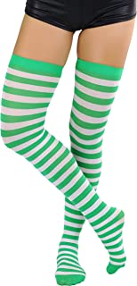 Women's Nylon Horizontal Striped Thigh Highs