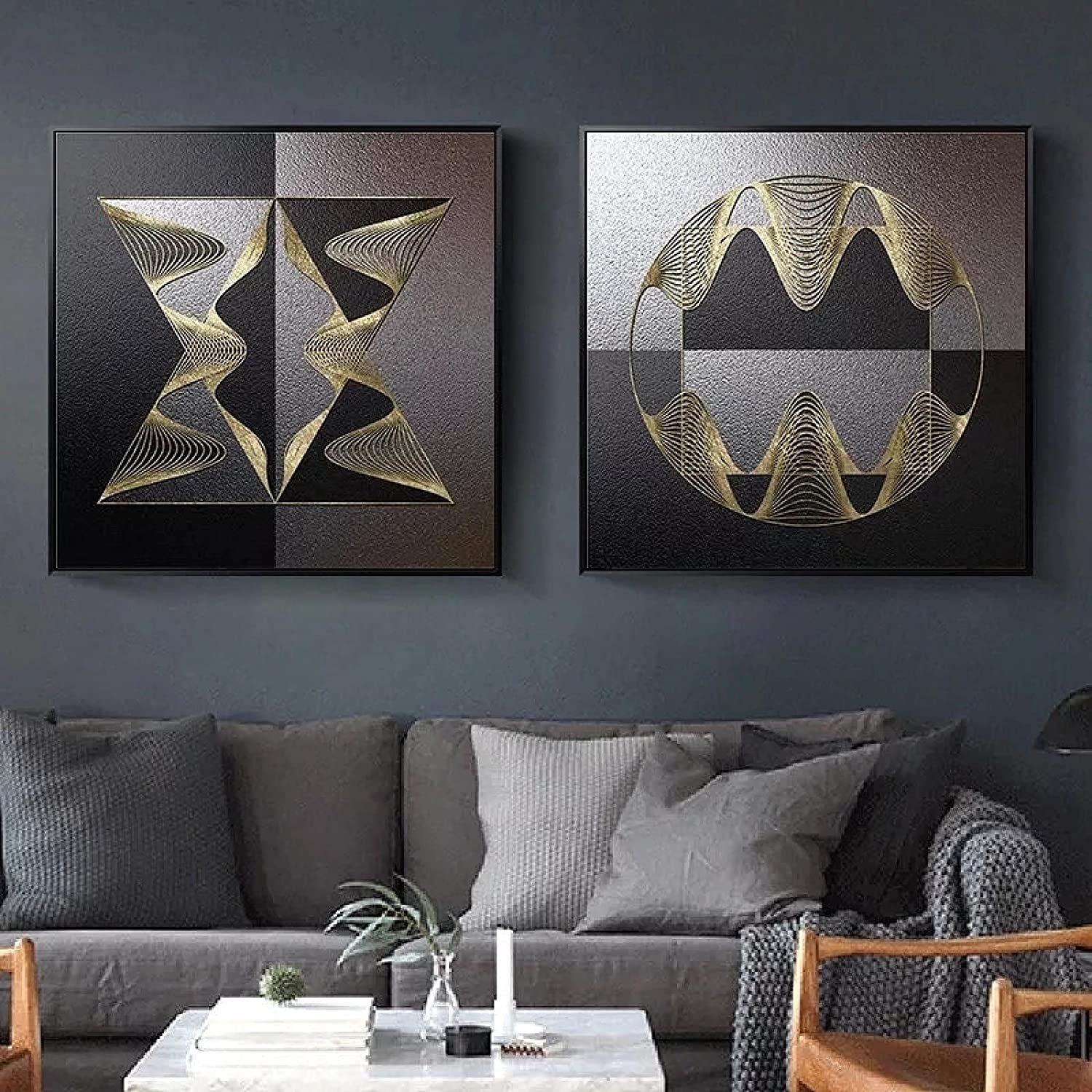 Canvas Wall Art Prints Abstract Retro Posters High Fees free!! quality new Black Wood Gr Gold
