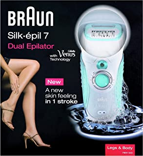 Braun SE 7891 Silk-epil 7 Dual with Gillette Venus Technology - Wet and Dry Cordless Epilator With 2 Accessories, White/Se...