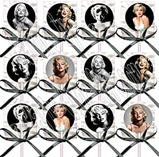 Marilyn Monroe Party Favors Supplies Decorations Lollipops w/Black Ribbon Bows Party Favors Blonde Bombshell (12 pieces) One dozen