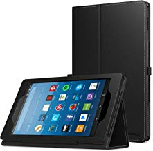 MoKo Case for All-New Amazon Fire HD 8 Tablet (7th/8th Generation, 2017/2018 Release) - Slim Folding Stand Cover for Fire HD 8, BLACK (with Auto Wake / Sleep)