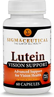 Lutein Vision Supplement - Red Eye Supplement - Bilberry & Grape Seed Extract Lutein 20mg, Vitamin A, Lutein Supplement - ...