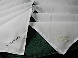 Wedding Hankies, handkerchiefs custom embroidered for your special occasion, No Ugly Crying, your names and date or other special message.