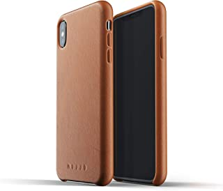 Mujjo Full Leather Case Compatible with iPhone Xs Max   Real Leather with Natural Aging Effect, Covered Buttons, 1MM Protective Screen Bezel, Japanese Suede Lining (Tan)