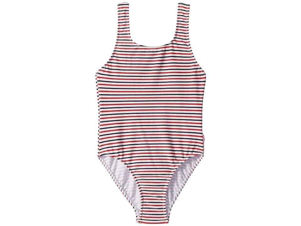 Seafolly Kids Marrakesh Sunset 80s Stripe Tank Top One Piece (Big Kids) (Indigo Stripe) Girl