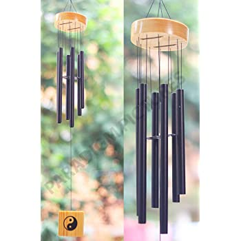 PARADIGM PICTURES Crystal 6 Pipes/Rods Fengshui Windchime with Good Sound for Positive Vibrations and Energy at Home and Office (Black and Golden)