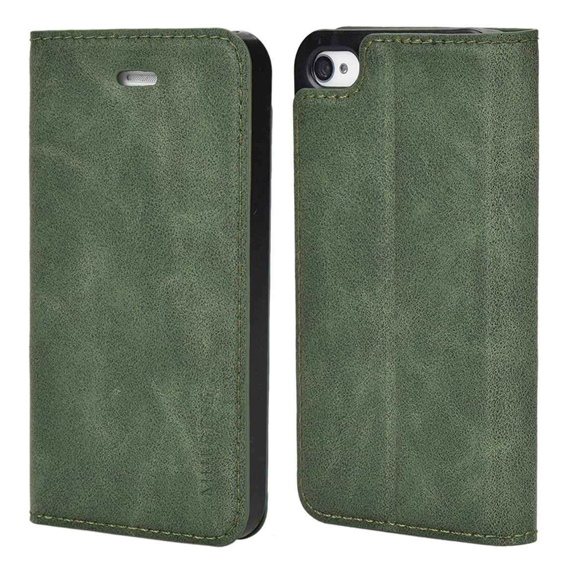 iPhone 4s Case,Mulbess PU Leather Wallet Case with Kick Stand for Apple iPhone 4 / 4s,Green