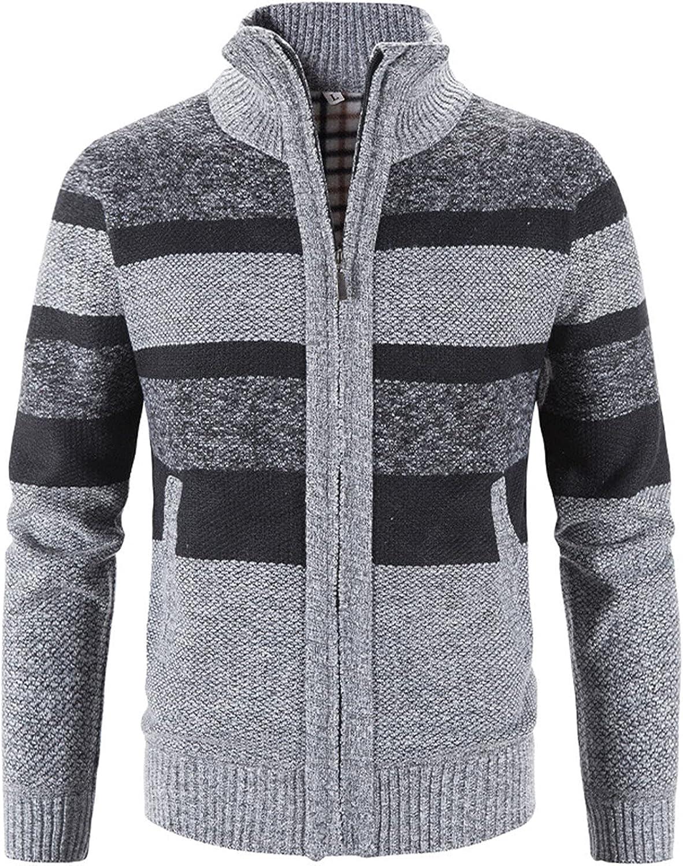 Men's Blazers & Suit Jackets,Men's Block Stand Collar Warm Cardigan Knit Jacket Coat
