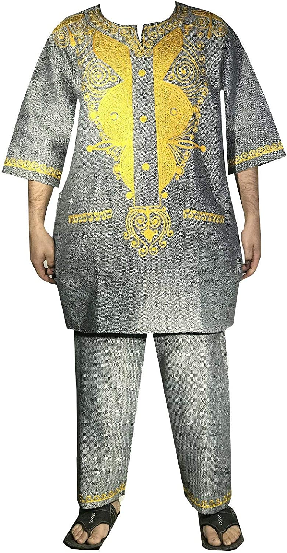 Traditional Dashiki Khadi Men Pant Set Double Color Heavy Fabric Mud Cloth Style Suit