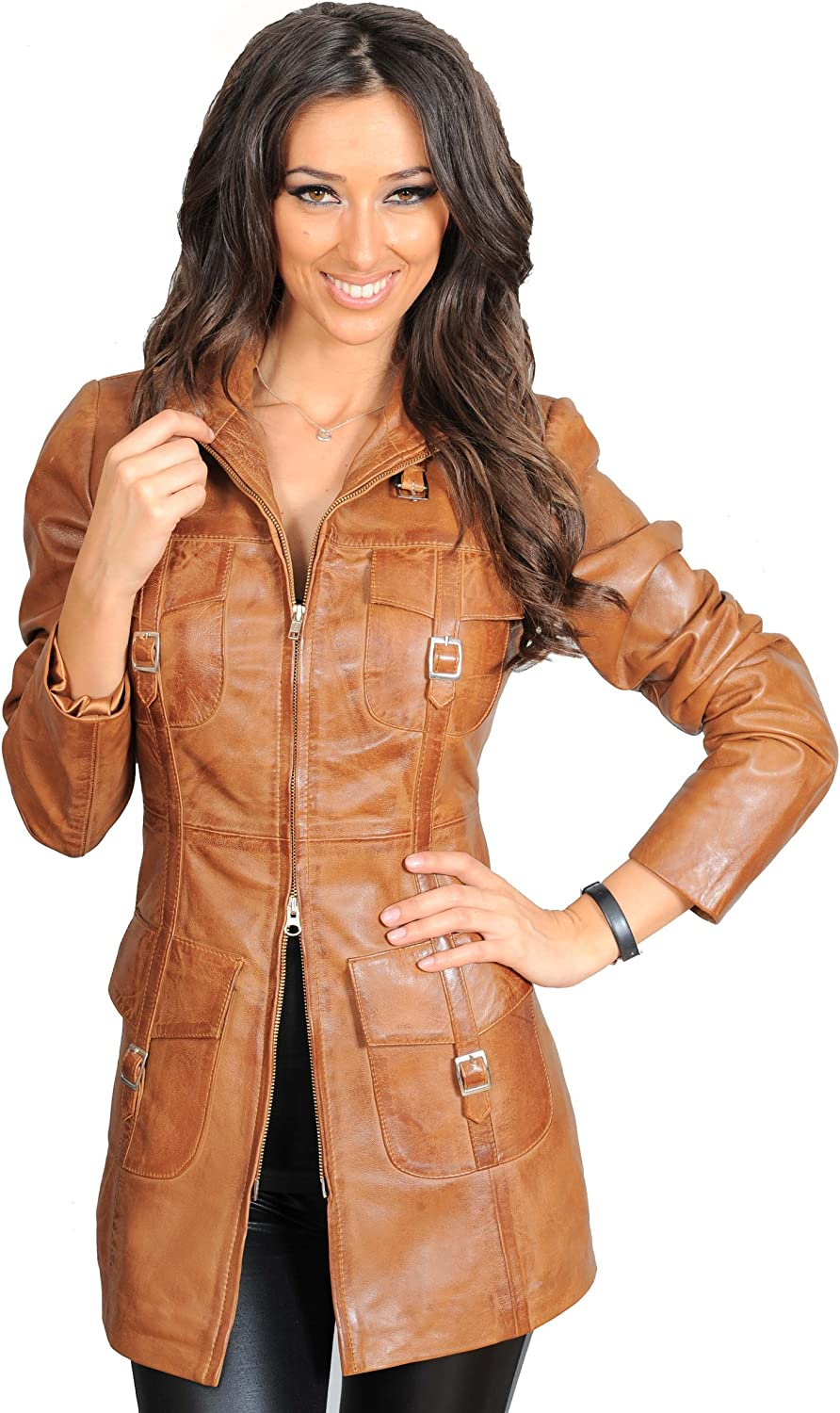 A1 FASHION GOODS Womens Online limited product Latest 3 Rare 4 Leather Tren Coat Fitted Real