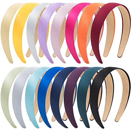 16 Mixed Color Satin Covered Headband Bands 5 mm DIY Craft Hair Accessory