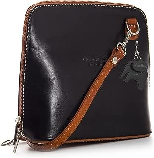 Genuine Vera Pelle Women Cross body Italian Leather Small Mini Shoulder Bag Handbag - ABBY