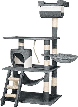 TecTake Arbre à chat griffoir grattoir geant | avec hamac et tunnel | hauteur 141 cm | gris blanc